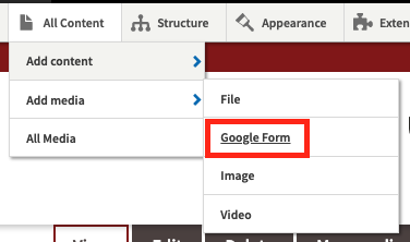 Navigate to Google Form, under All Content, All Mediia.