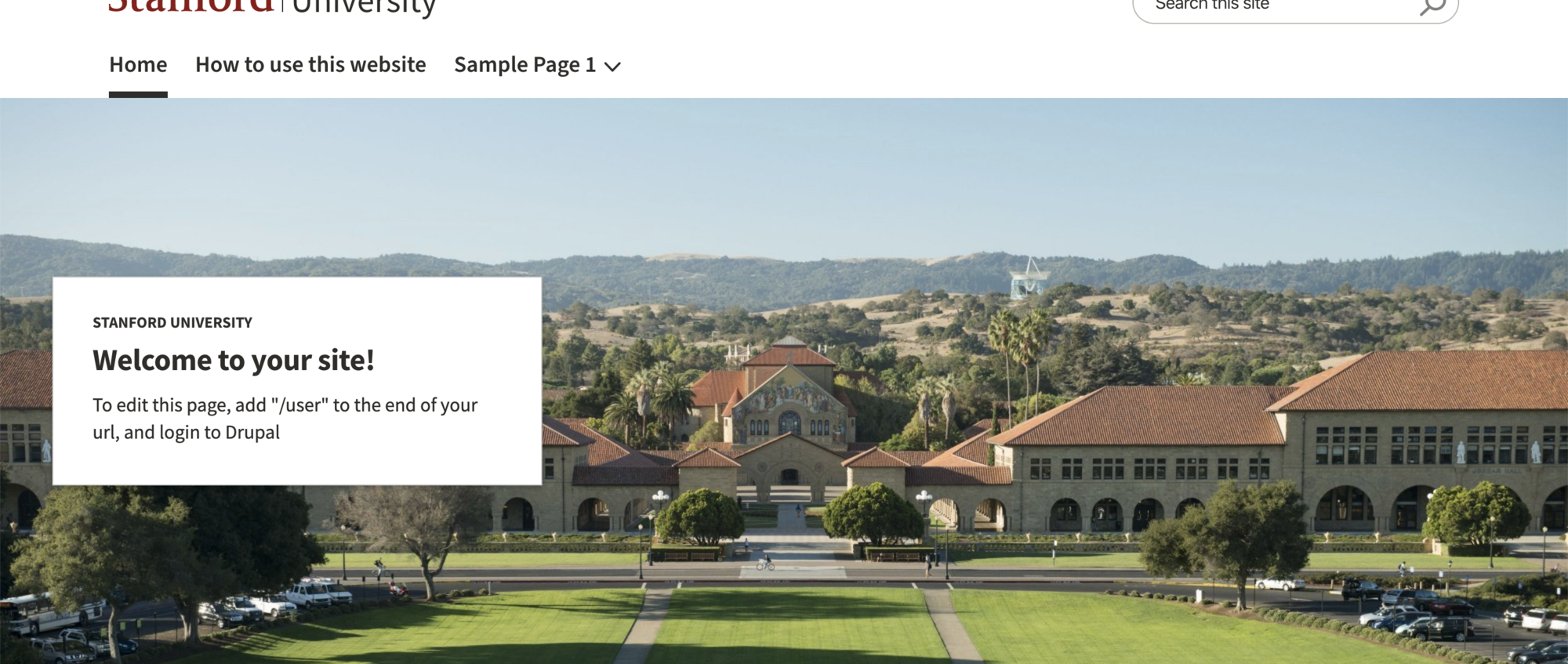Example of Banner with a Stanford landscape background