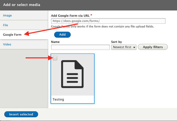 Media library, google form tab