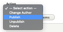 select action type to bulk change content