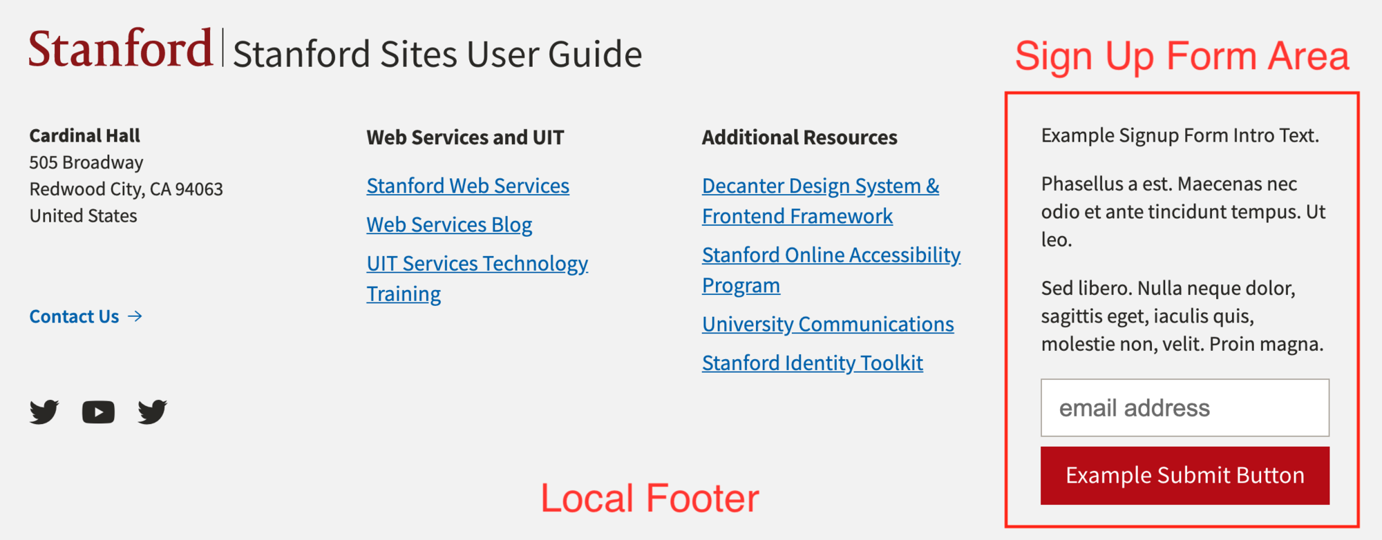 Example Local Footer with Sign Up Form