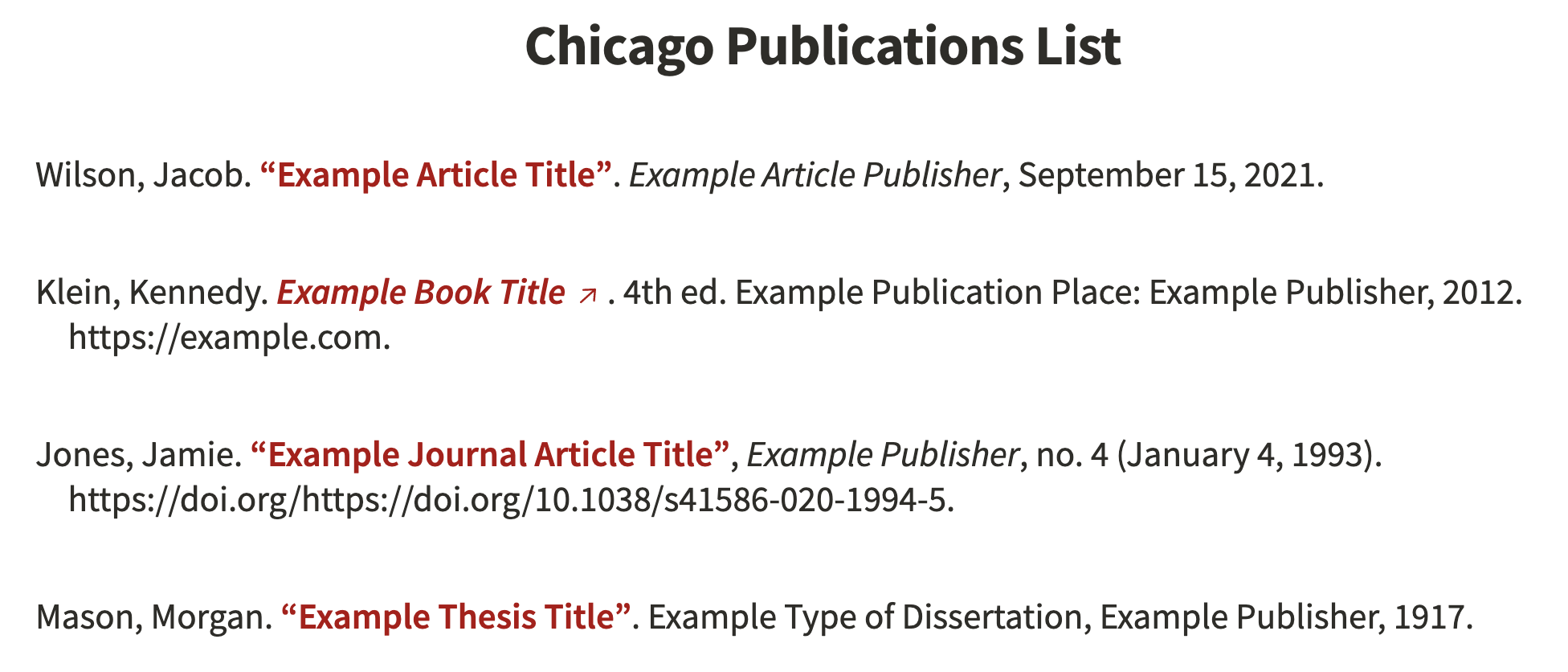 Chicago Publication List Example