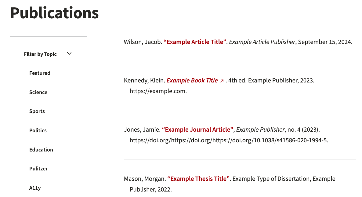 Default publications list page example